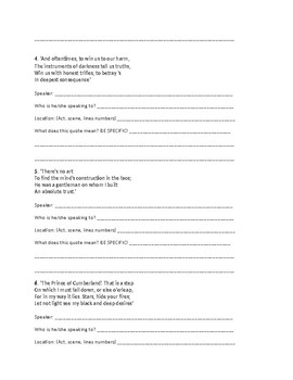 Macbeth Act 1 Quotes Analysis Worksheet