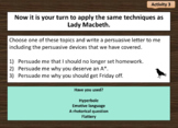 Macbeth Act 1 Scene 7 (persuasive techniques used by Lady