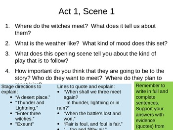 Macbeth - Act 1 Scenes 1 & 3