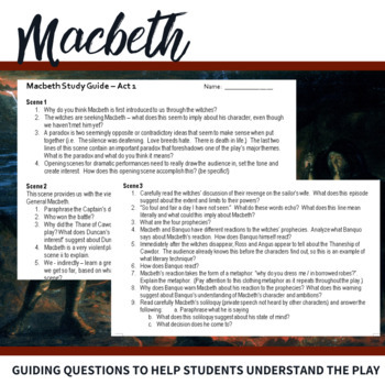 macbeth act 1 study guide questions by relentless innovation tpt rh teacherspayteachers com macbeth act 2 review discussion questions Romeo and Juliet Act 2 Scene 2