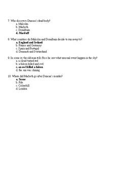 Macbeth Act 2 Quiz and Answer Key
