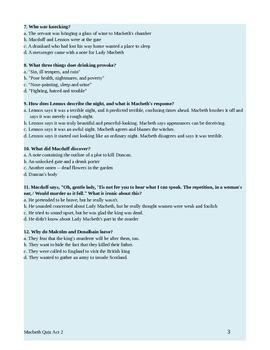 Macbeth Act 2 Quiz with Answer Key