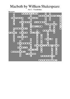 Macbeth Act 2 - Vocabulary Crossword
