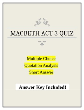 Macbeth Act 3 Quiz with Answer Key