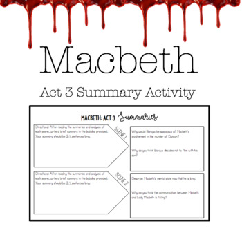 Macbeth Act 3 Worksheets Teaching Resources Teachers Pay