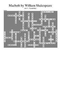 Macbeth Act 3 - Vocabulary Crossword