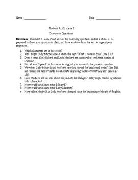 Macbeth Act 3, scene 2 questions