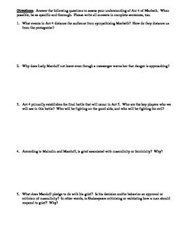 Macbeth - Act 4 Multiple Choice and Short Answer Quiz
