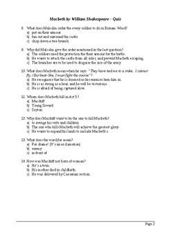 Macbeth Act 5 - Multiple Choice Quiz