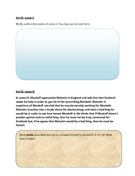 Macbeth Act Four Activity Pack