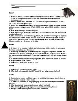 Macbeth Act I Comprehension Questions, Vocabulary, Anticipation Topics and Quiz