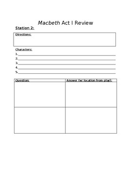 Macbeth - Act I Review Stations