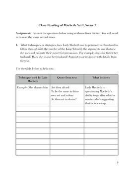 Macbeth Act I Scene 7 Close Reading Exercise