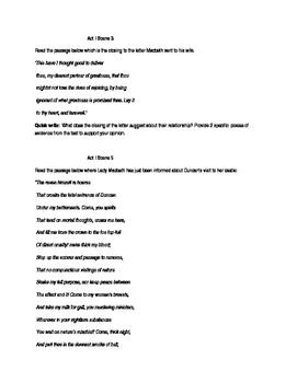Macbeth Act I writing tasks
