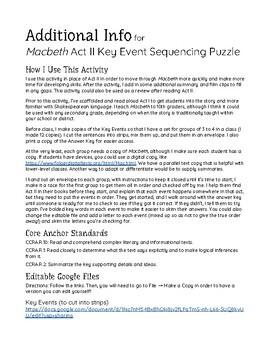 Macbeth Act II: Key Event Sequencing Puzzle Activity