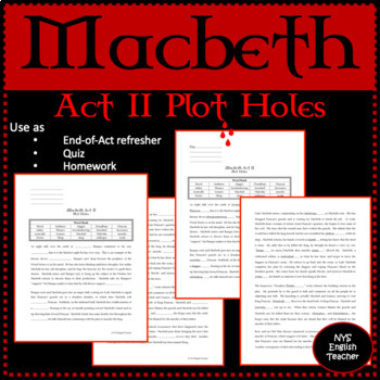 "Macbeth Act II ""Plot Holes"""