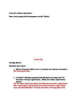 Macbeth Act II Quiz