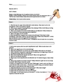 Macbeth Act II Scenes 1-4 Comprehension Questions and Quiz