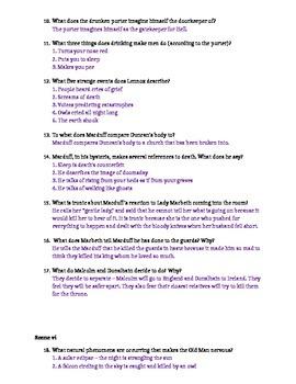 Macbeth Act II Study Guide and Key