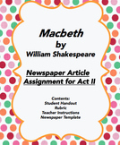 Macbeth Act II by Shakespeare Newspaper Article Project