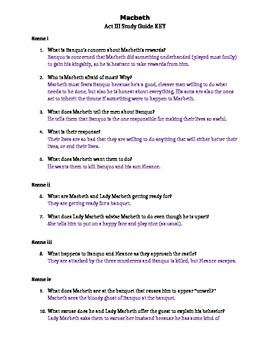 macbeth act iii study guide and key by jessica jackson tpt rh teacherspayteachers com macbeth study guide answer key act 1 macbeth act 1 study guide answer key