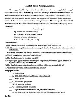Macbeth Act III Writing Assignment