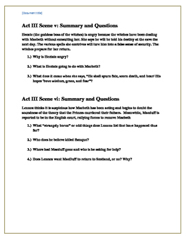 Macbeth Act III reading questions