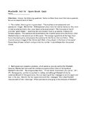 Macbeth  Act IV   Open Book Quiz and KEY