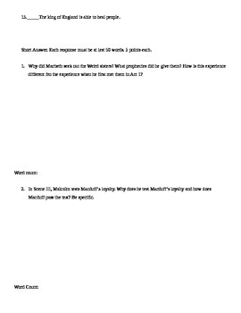 Macbeth Act IV Quiz