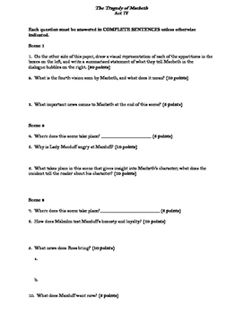 Macbeth Act IV Reading Guide