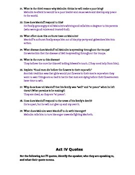 Macbeth Act IV Study Guide and Key
