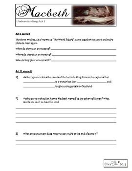 Macbeth Act One Activity Pack