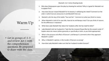 Macbeth Act One Analysis Lesson