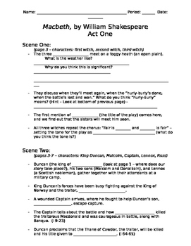 Macbeth Act One Study Guide