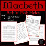 "Macbeth Act V ""Plot Holes"""