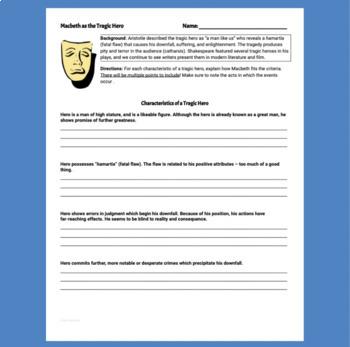 Macbeth, Act V Worksheet: Macbeth as Tragic Hero