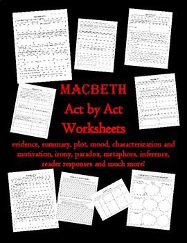 Macbeth Act by Act Worksheet Bundle