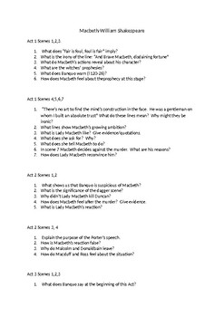 Macbeth - Act by act questions