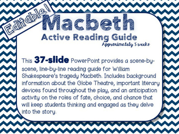 *Editable*** Macbeth Active Reading Guide