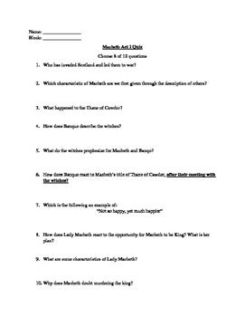 Macbeth Acts 1,3,&4 Quizzes