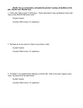 Macbeth - Acts 1-5 Quizzes - CCSS Aligned