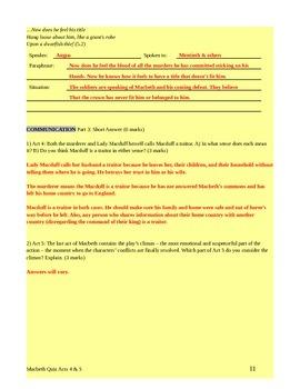 Macbeth Acts 4 & 5 Quiz with Answer Key