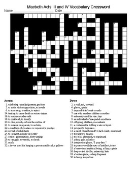 Macbeth Acts III and IV Crossword and KEY