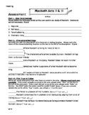 Macbeth Acts 2 & 3 Quiz/Test