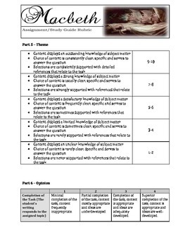 Macbeth Assignment / Study Guide Rubric - FREE!