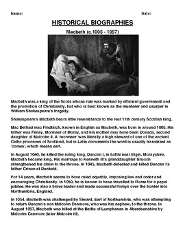 Macbeth Biography Article and (3) Assignments
