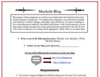 Macbeth Blog Activity-Digital Writing, Reading, & Textual Analysis