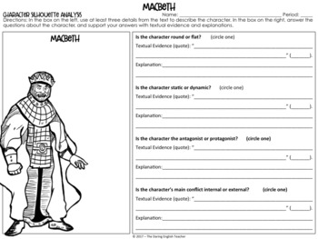 character analysis graphic organizers william shakespeare  macbeth character analysis graphic organizers william shakespeare