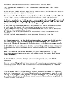 Macbeth Character Analysis Help Sheet