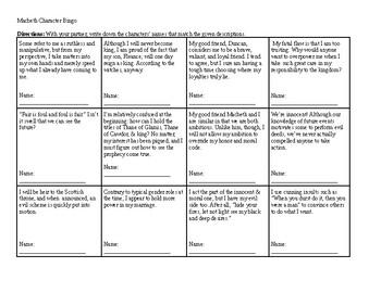 Macbeth Character Bingo: Act 1